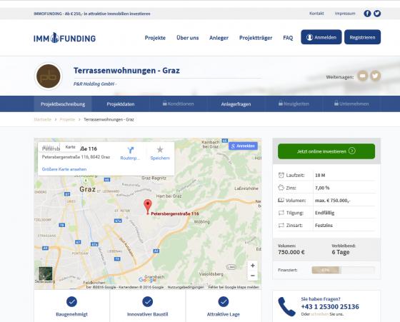 Projektübersicht auf der Immofunding Plattform