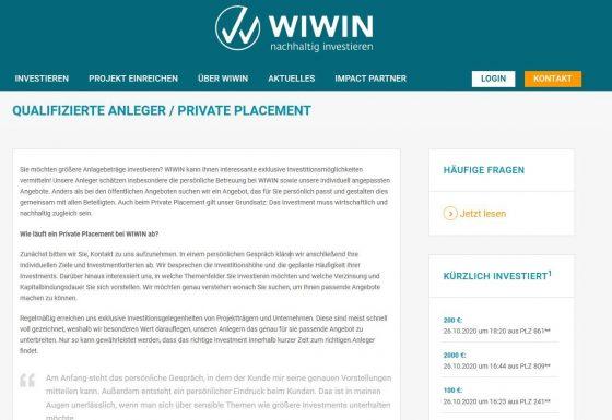 Keine Erfahrung mit WIWIN Private Placement